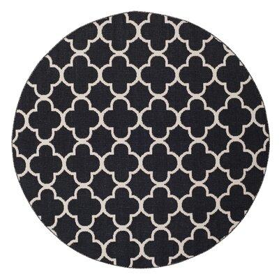 Desota Hand-Woven Black/Ivory Area Rug Rug Size: Round 6