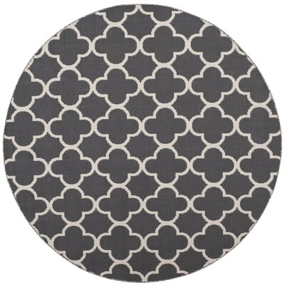 Desota Hand-Woven Dark Gray/Ivory Area Rug Rug Size: Round 6'