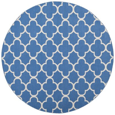 Desota Hand-Woven Blue/Ivory Area Rug Rug Size: Round 6