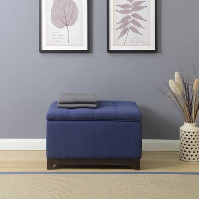 Watford Large Storage Upholstered Linen Tufted Ottoman Upholstery: Navy Blue