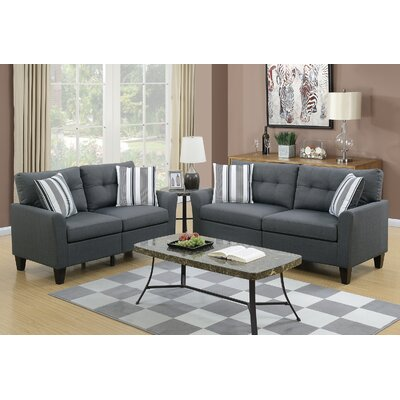 Wolfram 2 Piece Living Room Set Upholstery: Charcoal