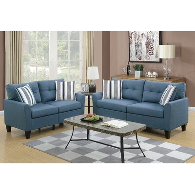Wolfram 2 Piece Living Room Set Upholstery: Blue