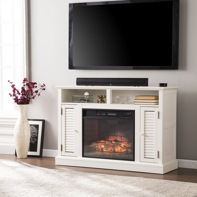 Lombardy 48 TV Stand with Fireplace Color: Distressed Antique White