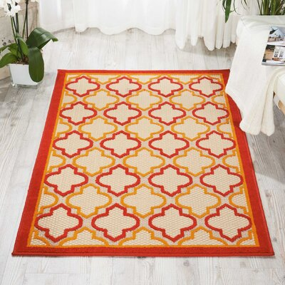 Ardleigh Red Indoor/Outdoor Area Rug Rug Size: Rectangle 36 x 56