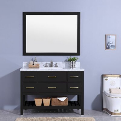 Cliffe 49 Single Bathroom Vanity Set with Mirror Base Finish: Espresso