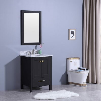 Bloomquist 25 Single Bathroom Vanity Set with Mirror Base Finish: Espresso