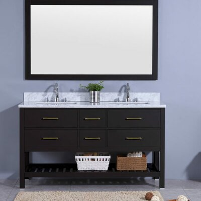 Rawson 61 Double Bathroom Vanity Set with Mirror Base Finish: Espresso