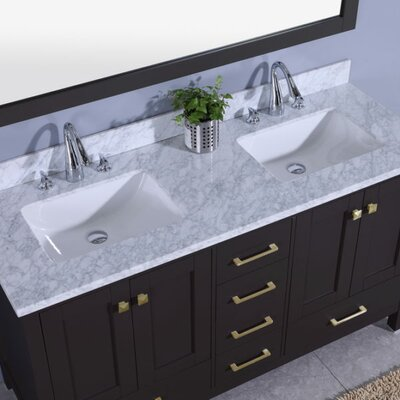 Bluegrass 61 Double Bathroom Vanity Set with Mirror Base Finish: Espresso
