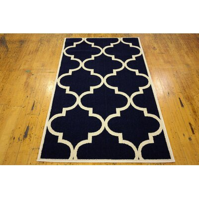 Navy Blue Area Rug Rug Size: Rectangle 33 x 53