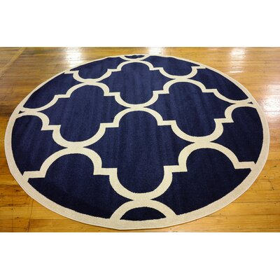 Moore Navy Blue Area Rug Rug Size: Round 6