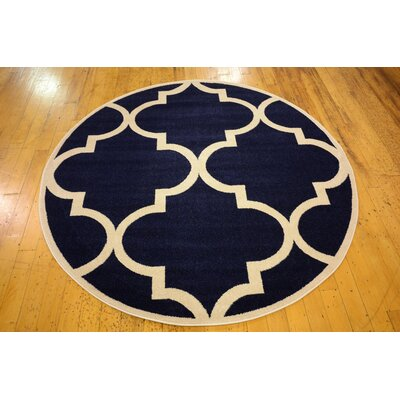 Navy Blue Area Rug Rug Size: Round 8