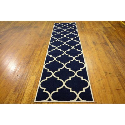 Moore Navy Blue Area Rug Rug Size: Runner 27 x 10