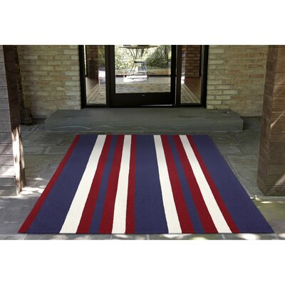 Cranford Nautical Stripe Hand-Tufted Red/Blue Indoor/Outdoor Area Rug Rug Size: Rectangle 5 x 76