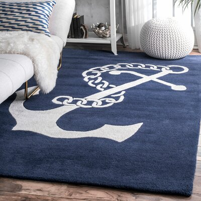 Islington Hand-Woven Wool Navy/White Area Rug Rug Size: Rectangle 6 x 9