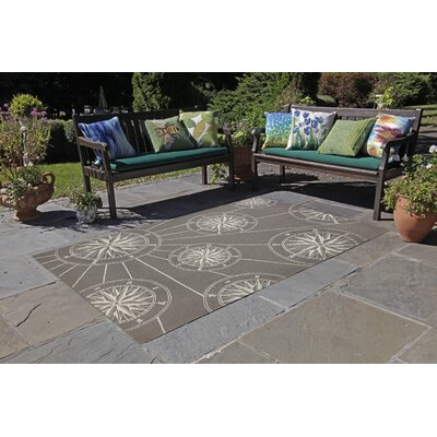Shelborne Compass Hand-Tufted Gray Indoor/Outdoor Area Rug Rug Size: Rectangle 36 x 56