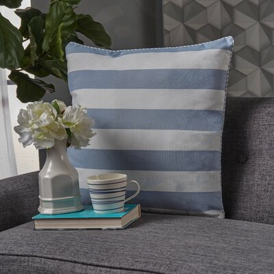 Stowe Modern Striped Throw Pillow Pillow Cover Color: Light Blue