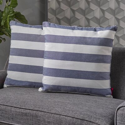 Stowe Striped Throw Pillow Pillow Cover Color: Blue