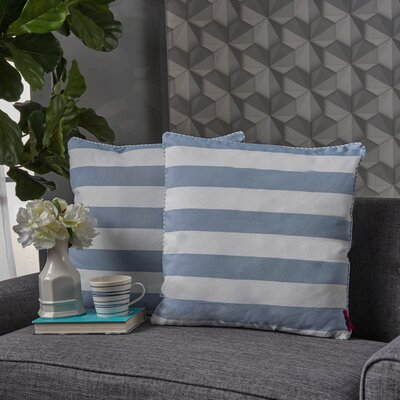 Stowe Striped Throw Pillow Pillow Cover Color: Light Blue