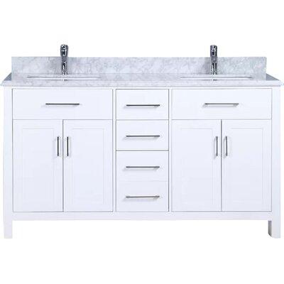 Prestwick 60 Double Bathroom Vanity Set Base Finish: White