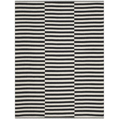 Orwell Hand-Woven Cotton Ivory/Black Area Rug Rug Size: 4 x 6