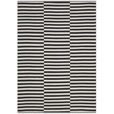 Orwell Hand-Woven Cotton Ivory/Black Area Rug Rug Size: 6 x 9