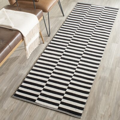 Orwell Hand-Woven Cotton Ivory/Black Area Rug Rug Size: Runner 23 x 7