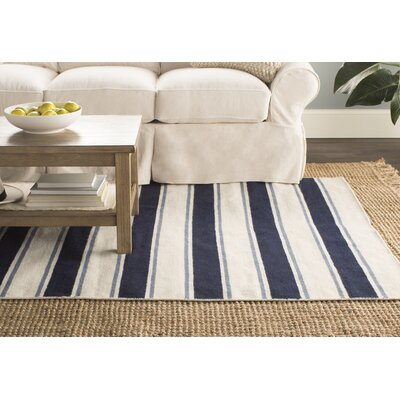 Randall Hand-Woven Wool Ivory/Navy Area Rug Rug Size: 36 x 56
