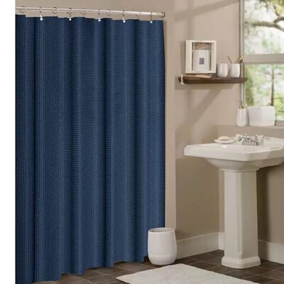 Timberview Waffle Shower Curtain Color: Navy