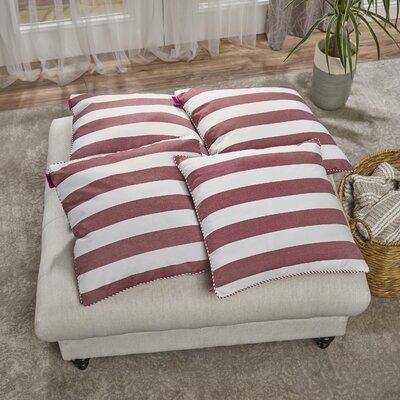 Cremeans 4 Piece Throw Pillow Set Color: Red