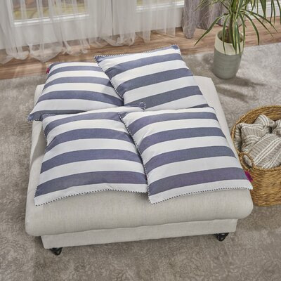 Cremeans 4 Piece Throw Pillow Set Color: Blue