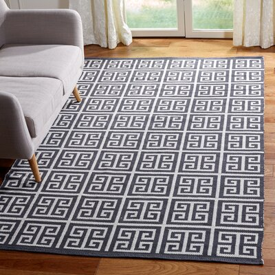 Royalton Hand-Woven Dark Gray/Ivory Area Rug Rug Size: Rectangle 5 x 8