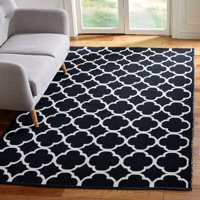 Desota Hand-Woven Black/Ivory Area Rug Rug Size: Rectangle 5 x 8
