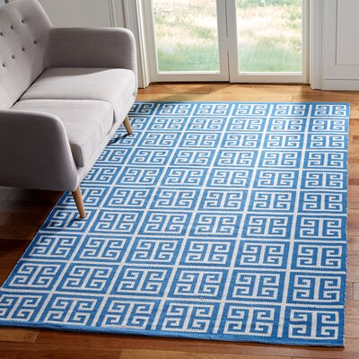 Royalton Hand-Woven Blue/Ivory Area Rug Rug Size: Rectangle 5 x 8