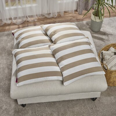 Cremeans 4 Piece Throw Pillow Set Color: Taupe