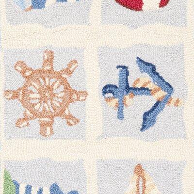 Eldridge Ivory / Blue Marina Novelty Area Rug Rug Size: Rectangle 18 x 26