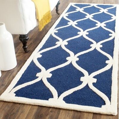 Leighton Wool Hand-Tufted Navy/Ivory Area Rug Rug Size: Runner 26 x 8