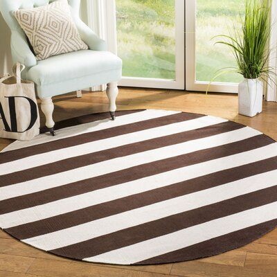 Kenia Hand-woven Chocolate/Ivory Area Rug Rug Size: Round 6