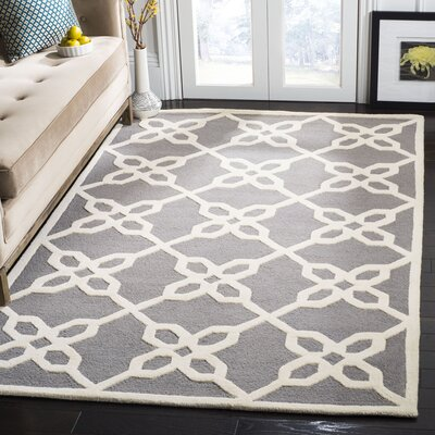 Linden Hand-Tufted Dark Gray / Ivory Area Rug Rug Size: Rectangle 5 x 8