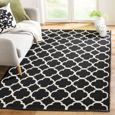 Desota Hand-Woven Black/Ivory Area Rug Rug Size: Medium Rectangle 5 x 8