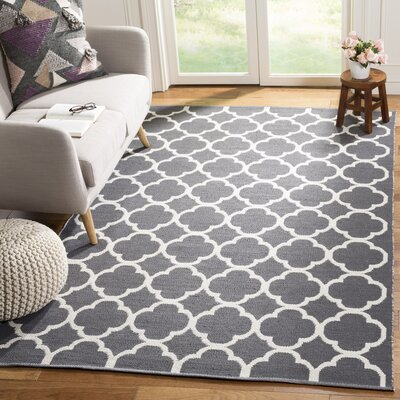Desota Hand-Woven Dark Gray/Ivory Area Rug Rug Size: Rectangle 5 x 8
