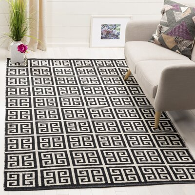 Royalton Hand-Woven Black/Ivory Area Rug Rug Size: Rectangle 5 x 8