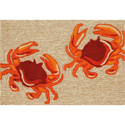 Walton Crabs Hand-Tufted Brown/Red Indoor/Outdoor Area Rug Rug Size: Rectangle 2 x 5