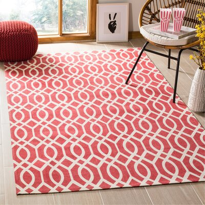 Nolan Hand-Loomed Coral/Ivory Area Rug Rug Size: Rectangle 5 x 8