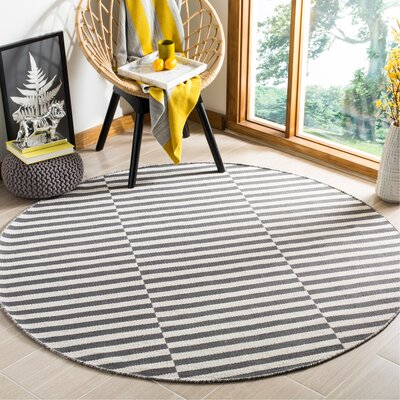 Orwell Hand-Woven Cotton Ivory/Gray Area Rug Rug Size: Round 6
