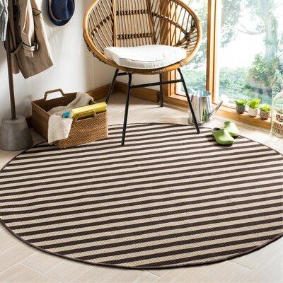 Verde Ivory/Brown Indoor/Outdoor Area Rug Rug Size: Round 6