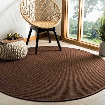 Campbellton Fiber Chocolate/Dark Brown Area Rug Rug Size: Round 6
