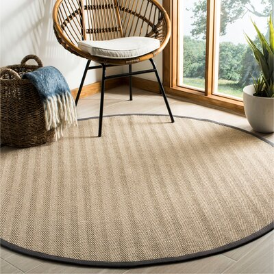 Campbellton Fiber Natural/Gray Area Rug Rug Size: Round 6