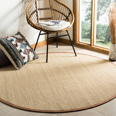 Campbellton Fiber Light Brown Area Rug Rug Size: Round 6