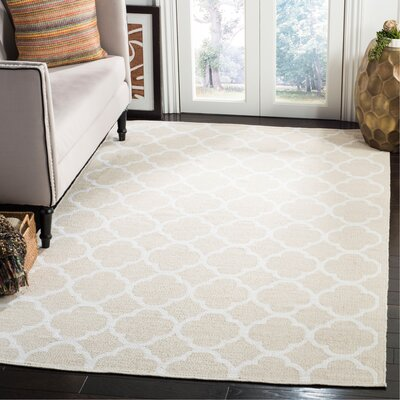 Desota Hand-Woven Beige/Ivory Area Rug Rug Size: Rectangle 5 x 8
