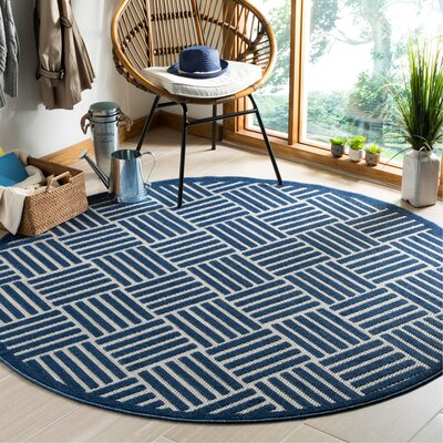 Zaniyah Blue Indoor/Outdoor Area Rug Rug Size: Round 67